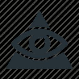 eye, illuminati, masonry, religion, triangle icon