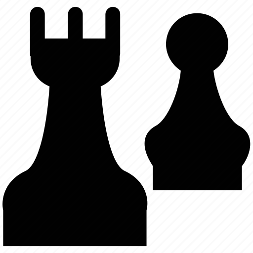 bishop, bishop and pawn, board game, chess, game, pawn icon