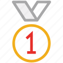 achievement, badge, first position, medal icon