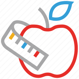 apple, apple with inch-tape, centimeter, measuring tape icon