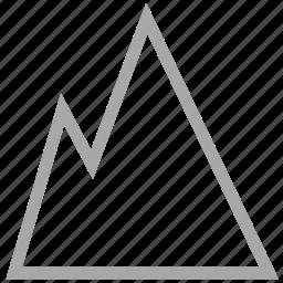 hills, mountain, rocky mountain, snow mountain icon