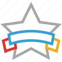 award, medal, star medal, star with banner icon