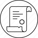 deed, diploma, papirus, proof, script, scroll icon