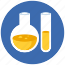 chemistry, experiment, flasks, glass, lab, laboratory, research, science, substance icon