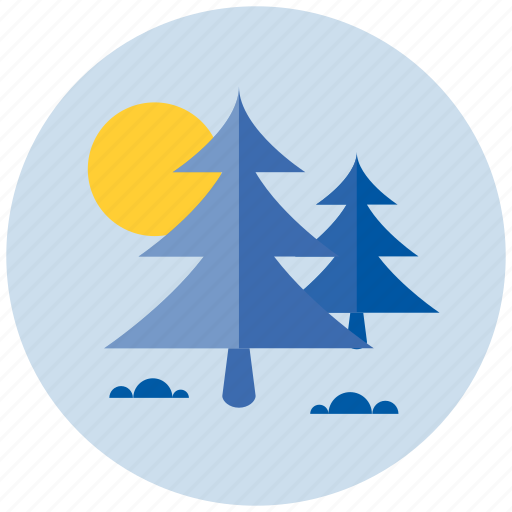 forest, moon, night icon