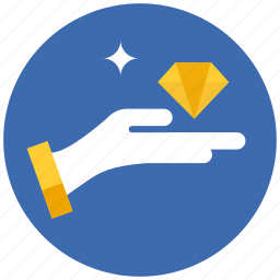 diamond, hand, streched icon