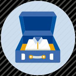 case, luggage, open, shirts, suitcase icon