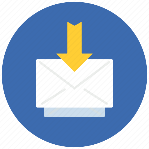 arrow, communication, down, email, internet, mail, message icon