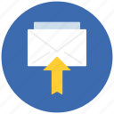 arrow, communication, email, internet, mail, message, up icon
