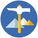 eco, environment, environmental, mountain, mountains, nature, pickaxe icon