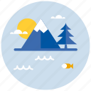 environment, lake, mountain, mountains, natural, nature icon