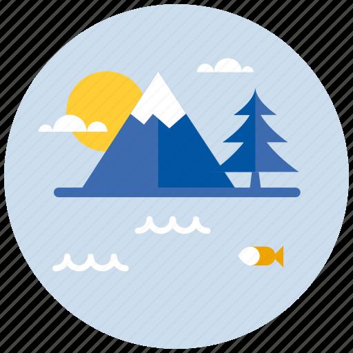 environment, lake, mountain, mountains, natural, nature icon