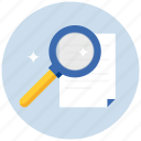 document, documents, file, find, glass, magnifying, paper, search, zoom icon