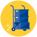 boxes, delivery, package, parcels, shopping, trolley icon
