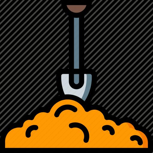 shovel, spade, spring icon