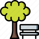 bench, park, spring, tree icon