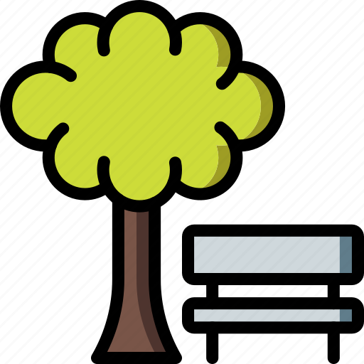 bench, park, spring, tree icon