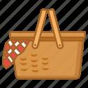 basket, hamper, picnic, set, wicker