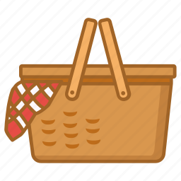 basket, hamper, picnic, set, wicker icon