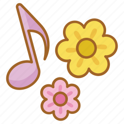 bloom, flower, music, musical, song, spring icon