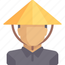 avatar, china, chinese, farmer, man, person icon