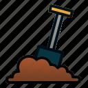 dig, garden, shovel, spring, tools icon