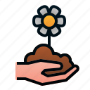 blossom, flower, garden, hand, seed, spring icon