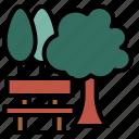 spring, park, bench, locator, trees, garden