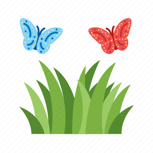 beautiful, beauty, butterfly, flower, grass, green, red icon
