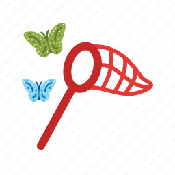butterflies, butterfly, catch, catching, hand, net, spring icon
