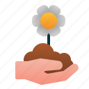 blossom, flower, garden, hand, seed, spring icon