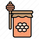 honey, bee, honeycomb, jar, food, sweet, spring
