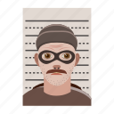 cartoon, crime, criminal, photo, police, prison, prisoner icon
