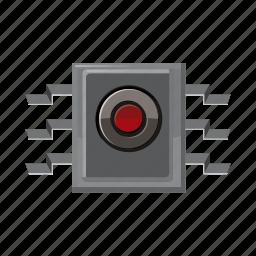 cartoon, circuit, computer, electronic, information, processor, spy icon