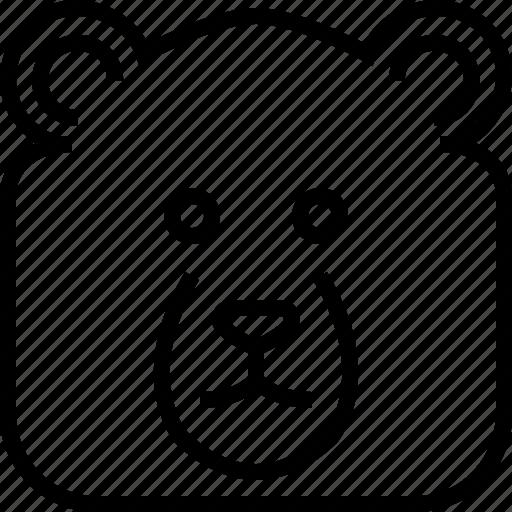 animals, avatar, bear, head, square, wild, yumminky icon