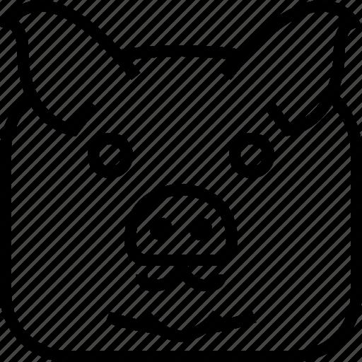 animals, avatar, farm, head, pig, square, yumminky icon