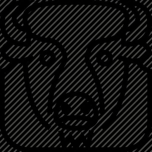 animals, avatar, bison, head, square, wild, yumminky icon