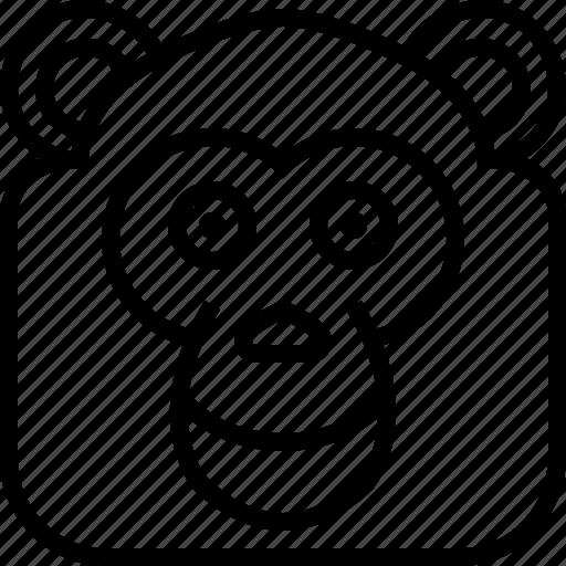 animals, avatar, chimpanzee, head, monkey, square, yumminky icon