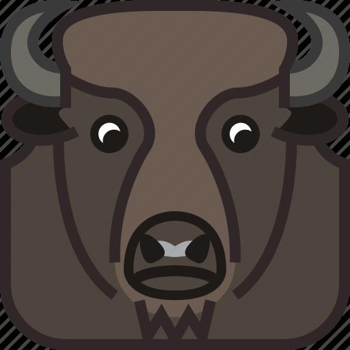 animals, bison, head, horn, square, wild, yumminky icon