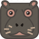 africa, animals, hippo, safari, square, wild, yumminky icon