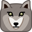 animals, beast, head, square, wild, wolf, yumminky icon