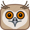 animals, bird, head, owl, square, wild, yumminky icon