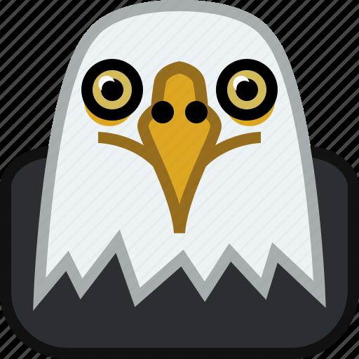 animals, eagle, head, predator, square, wild, yumminky, zoo icon