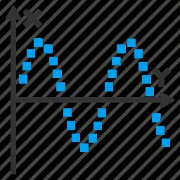 amplitude, analog signal, graph, plot, sine, wave, waveform icon