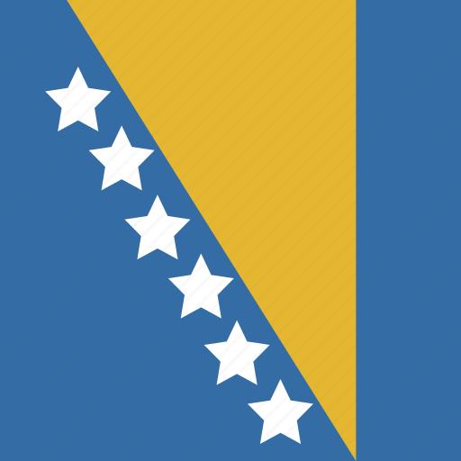and, bosnia, flag, herzegovina, square icon