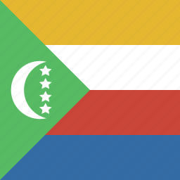 comoros, flag, square icon