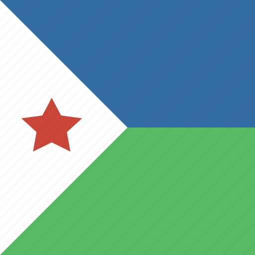 djibouti, flag, square icon
