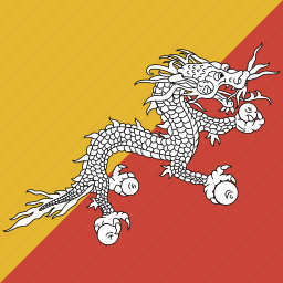 bhutan, flag, square icon
