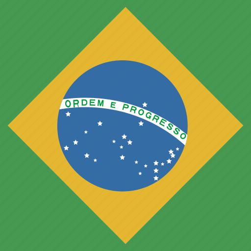 brazil, flag, square icon