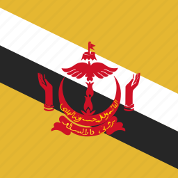 brunei, flag, square icon
